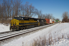 Nickel Plate heritage dashing through the snow (jwjordak) Tags: railroad usa heritage train ns number macedonia oh 8100 norfolksouthern trainsymbol train24z