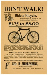 Don't Walk! Ride a Bicycle (Alan Mays) Tags: new old horses signs vintage ads paper walking advertising typography high pennsylvania antique low wheels motorcycles bikes illustrations tires ephemera used bicycles pa riding type brakes repairing secondhand advertisements fonts flyers printed muhlenberg brownies notices repairs fliers typefaces berkscounty handbills leaflets jewelers circulars broadsides palmercox coasterbrakes geohmuhlenberg georgehmuhlenberg georgemuhlenberg