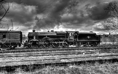 End of the line (Rustybricko) Tags: monochrome buxton hdr steamlocomotive thepeakdistrict 45231 buxtonstation thesherwoodforester