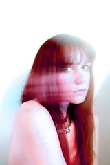 Haze (Jessica May Rita Kohut) Tags: camera longexposure pink blue girls red blur color photoshop canon hair nose photography haze eyes exposure photographer skin photos bare lips motionblur photograph cameras 5d canon5d bangs redhair necklaces bluepaint bareskin bluewalls canon5dmarkii frontbangs