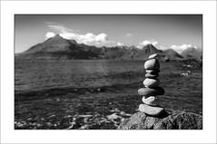 Skye stone art (tkimages2011) Tags: sky sculpture cloud mountain skye beach water scotland highlands isleofskye stones pebbles cuillin stoneart