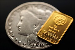 Silver and Gold . . . (JLS Photography - Alaska) Tags: money macro silver circle gold coins indoor round closeups macroshot oldcoins engelhard macromondays jlsphotographyalaska