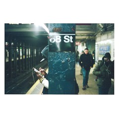 'Subway Stop', United States, New York, New York City, 68th St SubwayStop 20150129 (WanderingtheWorld (www.ChrisFord.com)) Tags: new york city people film college st analog subway person photography photo interesting movement phone minolta kodak stop 400 hunter portra x700 68th