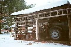 tractor tire (ulanalee) Tags: winter snow film 35mm mju kodak pennsylvania olympus pa mjuii filmgrain μmjuii kodakektar100 olympusμmjuii