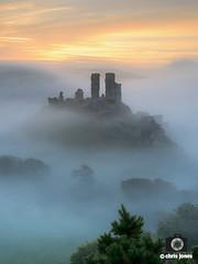 Wonky Corfe (Chris Jones www.chrisjonesphotographer.uk) Tags: uk chris england mist west castle fog sunrise photography jones ancient south hill dorset corfe purbecks