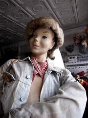 2009 - 04 - 11 - Denim Jacket with No Bra (Mississippi Snopes) Tags: mannequin fashion denimjacket nobra petersburgvirginia reallybadwigordavycrockettcoonskincap