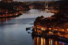 PORTO-201200216 (t3mujin) Tags: city bridge sunset house building portugal water architecture river lights europe dusk porto douro oporto ribeira