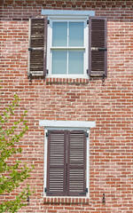 Open and closed shutters (Barry Cruver) Tags: old windows building brick home window architecture pennsylvania historic shutters peelingpaint allentown brickwork patina brickword