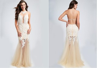 $213.00 -At MIYADRESSES.COM - Exquisite Tulle Halter Neckline Sheath See-through & Open-back Evening Dresses with Beaded Lace Appliques