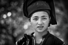 "Vietnam: jeune femme ""Lolo noir"". (claude gourlay) Tags: portrait people blackandwhite bw woman face asia retrato femme nb vietnam asie ethnic ritratti indochine caobang tonkin baolac ethnie minorit claudegourlay"