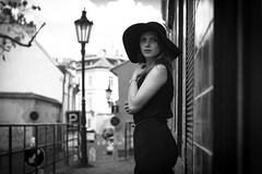 Terezie (kaddafi210) Tags: street old city light summer portrait blackandwhite bw girl monochrome face hat fashion vintage pose spring dress photoshoot czech prague emotion bokeh posing samsung style sunny praha retro portraiture m42 czechrepublic brunette moment mode photoshooting carlzeiss carlzeissjena pancolar pancolar1850 czechgirl ausjena mirrorless pancolarzebra samsungnx210