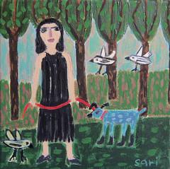 "#1338 ""In the park"" (sariart2) Tags: blue original trees dog abstract art birds painting landscape acrylic raw folk ooak sari childlike azaria noy"