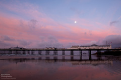 Brighton beach at low tide (FofR) Tags: uk morning red reflection beach architecture clouds sunrise landscape outdoors dawn sussex pier early seaside sand brighton skies layers