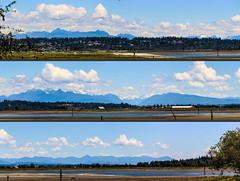 Northeastern Mountains (Split Panorama) (A.G. Buron Photography) Tags: panorama mountains water vancouver clouds eagle outdoor ducks bluesky surrey crescentbeach vancouverbc surreybc mudbay armandburon