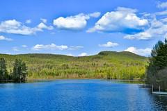 TRANQUILLIT - PEACE (BLEUnord) Tags: lac lake hauteslaurentides laurentians laurentides paysage landscape nuages clouds partlycloudy partiellementnuageux arbres trees fort forest quai dock