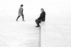 DSC_3390 (Knut Arne Gjertsen) Tags: street blackandwhite bw woman blancoynegro monochrome oslo norway mono streetphotography simplicity highkey minimalism streetshot achromatic