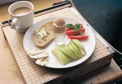 (joelbrendenphotography) Tags: coffee cheese breakfast tomato dill 50mm kodak toast egg rangefinder butter apples brie portra sourdough xenon schneider retina 160 f20 portra160 iiic breakfastwithjoel