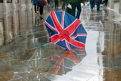 Broken, abandoned Brolly (jimj0will) Tags: brolly rain rainy wet reflections union greatbritain unitedkingdom unionjack redwhiteandblue umbrella street broken