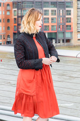 Sienna Guillory filming with James Nesbitt on Millennium Bridge in London (alanrharris53) Tags: bridge woman sexy london girl lady tv pretty sienna millennium pout actor filming 2016 guillory luckyman jamesnebitt