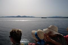 Windy (Kostas Katsouris) Tags: blue girls friends sea summer sun hat boat fuji wind hats windy athens greece bluestar fujifim xt10