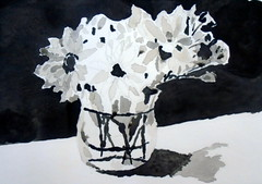 Jar and flowers B&W, by Raul - DSC03337 (Dona Mincia) Tags: bw stilllife art watercolor painting paper table arte sombra pb study sadow pretoebranco mesa pintura nuance blackandwite aquarela naturezamorta degrad vasoflor