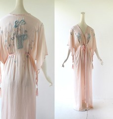 1920s floral embroidered pink silk dressing gown (Small Earth Vintage) Tags: pink 1920s floral robe silk lingerie dressinggown 1910s embroidered peignoir vintageclothing vintagefashion smallearthvintage