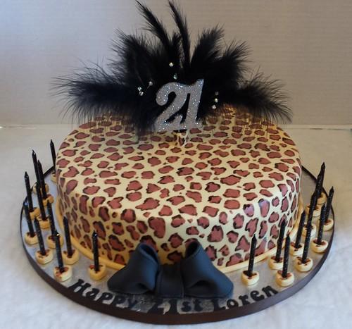 21st Leopard Print Birthday Cake