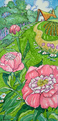 Peonies Once Again (cottagelover1953) Tags: flowers roof red spring cottage retro deco storybook whimsical peonies