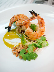 prawn, green papaya, cilantro, yellow curry (Aubergine Carmel) Tags: justin ron mendoza aubergine cogley