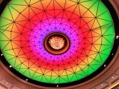 Colourful Dome Ceiling in Brisbane City Hall 2013 (andrewcaswell) Tags: building architecture drew australia andrew brisbane qld queensland cbd caswell
