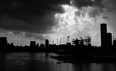 Cloud break (Chin Li Zhi) Tags: city urban blackandwhite bw skyline clouds hall singapore skies cityscape waterfront dramatic fujifilm epic x100 x100s chinlizhi