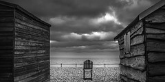 Kingsdown (richard carter...) Tags: blackandwhite seascape canon kent beachhuts 1635 kingsdown eos5dmk2