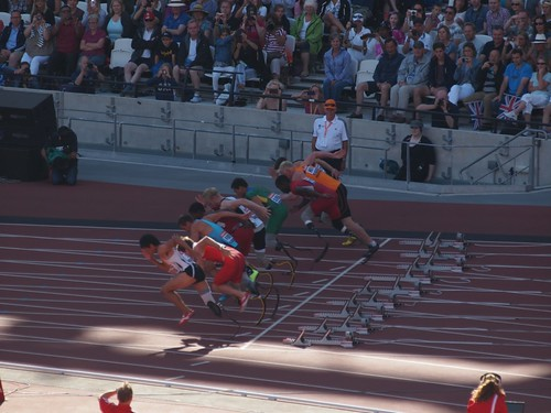 Mens T43/44 100m Final is underway
