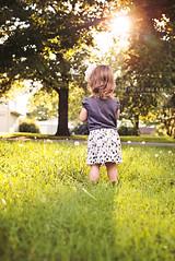 Evening of Dandelions (JeneeMathes) Tags: trees sunset color green nature girl yard weeds nikon toddler pretty dress adorable neighborhood kansas lovely burst nikkor dandelions headband d800 buhler falyn