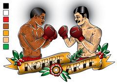 Nobre Arte (Marcos D. Torres) Tags: old school art tattoo illustration colorful artist arte tattoos gloves adobe ribbon illustrator draw boxing mustache marcos vector nobre nigga noble torres corel nigger