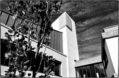 oxford-1-040913 (Snowpetrel Photography) Tags: blackandwhite monochrome stone architecture buildings stonework oxford modernarchitecture wolfsoncollege oxfordcolleges smcpda15mmf40edal pentaxk5