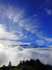 Annapurnas from Poon Hill (jonhuskisson) Tags: travel nepal panorama snow mountains clouds trekking asia day peak climbing backpacking himalayas poonhill ahhapurnas
