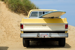 chevy on the cape cod dunes (ho_hokus) Tags: sea summer chevrolet beach car truck ma sand unitedstates capecod massachusetts dunes chevy x20 wellfleet 2013 cahoonhollow fujix20 fujifilmx20