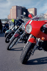 Motorcycles (dtanist) Tags: new york city nyc newyorkcity newyork film brooklyn analog zeiss island kodak motorcycles row contax motorcycle g1 biker 100 coney meet 45mm planar ektar carlzeiss