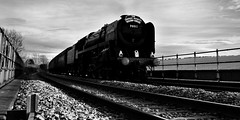 The Oliver Cromwell Thunders into Lincoln (Miles From Nowhere Photography) Tags: blackandwhite bw panorama monochrome mono vanishingpoint blackwhite widescreen letterbox v1 nikon1 nikon1v1 nikonv1 mileswinterburn
