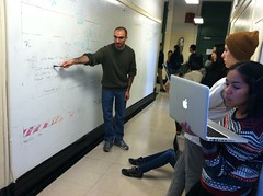 Intro to Comp Sci, Mike Pascual doing a demo on the whiteboard walls (jenksbyjenks) Tags: teals room402 nycischool