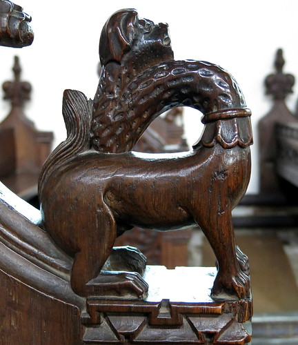 15th C. bench end armrest carving (possibly a giraffe--see note below), the Church of St Mary, Dennington, Suffolk