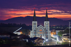 The Chanthaburi Cathedral (baddoguy) Tags: city light mountain church horizontal architecture thailand twilight community cityscape cathedral landmark iconic tranquilscene immaculateconception traveldestinations chanthaburi beautyinnature
