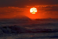The Face of the Sun (Darren-) Tags: ocean sunset sea sky newyork color beach water beautiful beauty outdoors sand waves longisland westhampton nikond5100