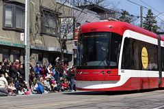 The New TTC Streetcar (dtstuff9) Tags: street new toronto ontario canada beach public easter ttc parade queen east transportation transit beaches outlook commission bombardier streetcars lrv flexity