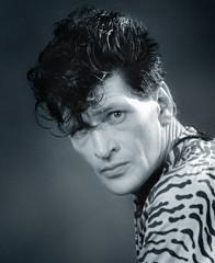 Portret van Herman Brood, gemaakt in de periode, dat ik veel artiesten fotografeerde tijdens de opnamen van Toppop. (ca 1989) -Cinevideogroep/Almere -(1986-1996)  - repro