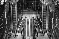 Roltrappen (Dick Sijtsma) Tags: bw blackwhite rotterdam stair escalator