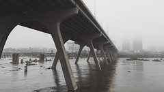 Foggy Mornings (Joey Wharton) Tags: morning bridge water fog architecture river landscape outdoors virginia cityscape richmond va rva