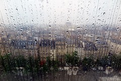 Please, stop the rain! (nathaliedunaigre) Tags: paris texture rain town drops view place pluie centrepompidou vue ville beaubourg vitre gouttelettes