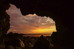 Anglesey Sunset (dilys_thompson) Tags: sunset sea beach rocks cave anglesey